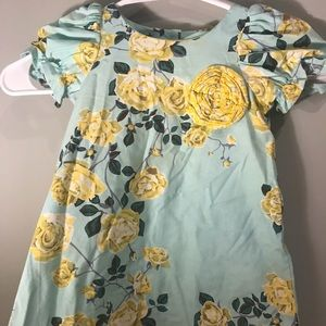 Toddler Girls Blue and Yellow Floral Dress